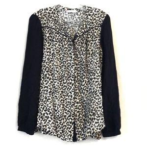 Rebecca Taylor Leopard Print Button Down Blouse